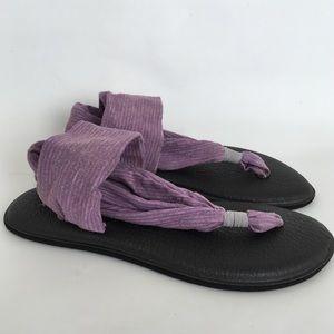 Sanuk Purple And Gray Striped Yoga Sling Sandals